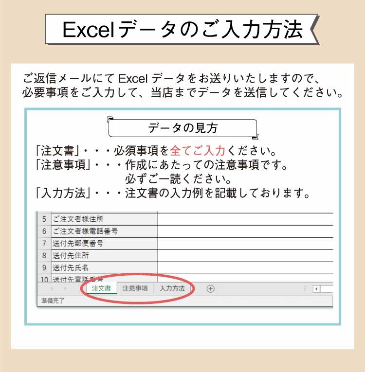 エクセルデータのご入力方法